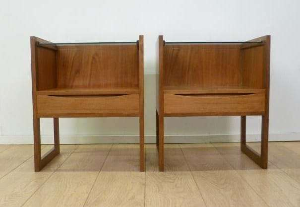 Teak and glass bedside drawers Mark
