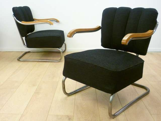Pair of art deco 1930s lounge chairs mark parrish mid century modern - Deco lounge oud en modern ...