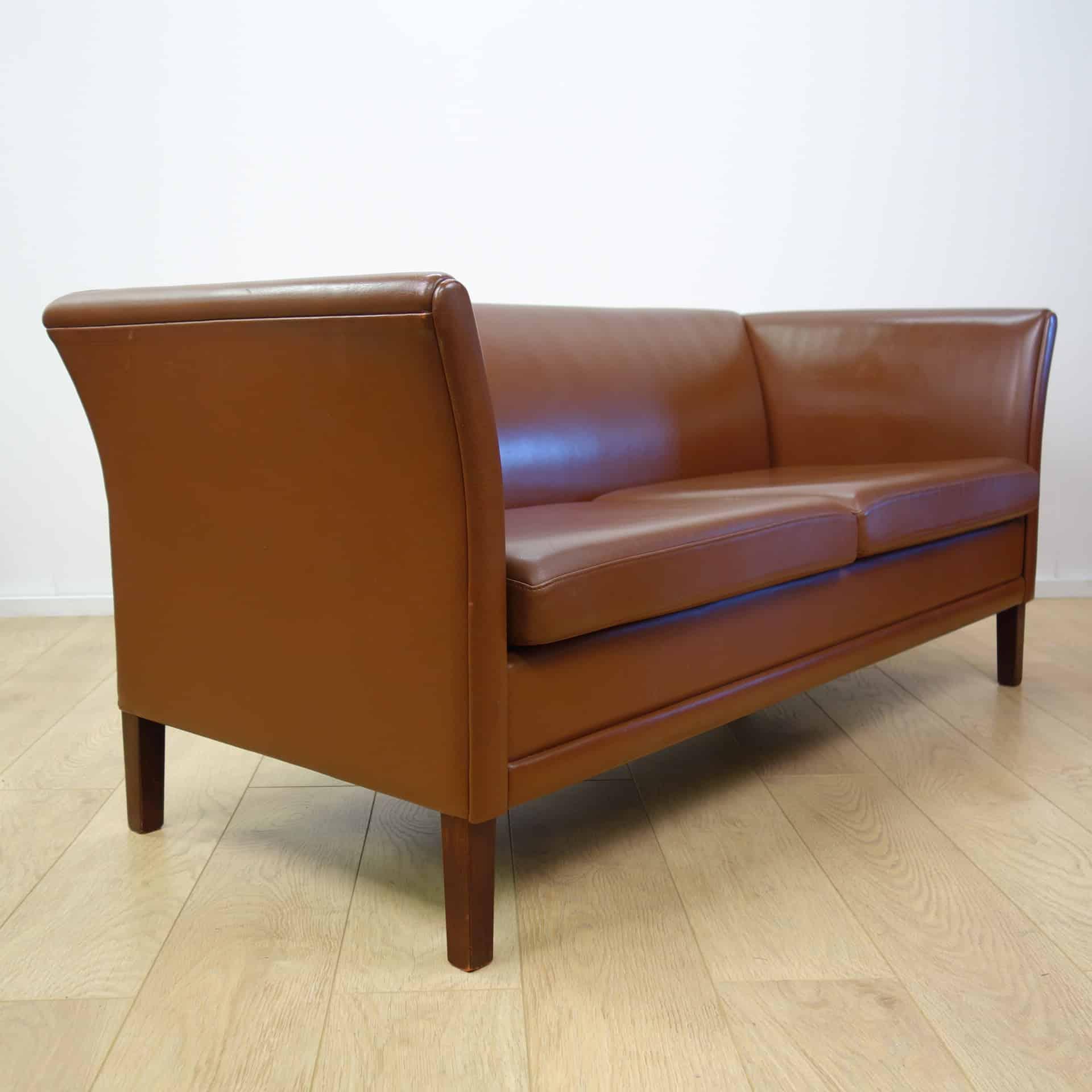 Danish Tan Leather Sofa Mark Parrish Mid Century Modern