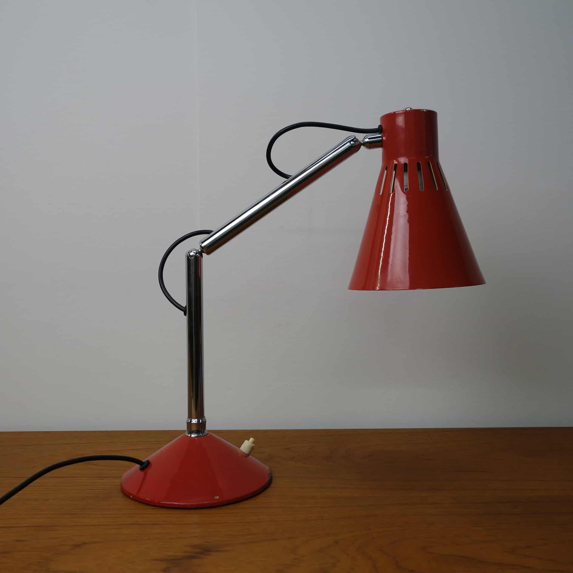 1950s adjustable red desk lamp by Pifco Mark Parrish Mid