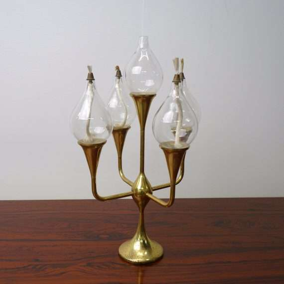 1960s oil lamp candelabra by Freddie Andersen