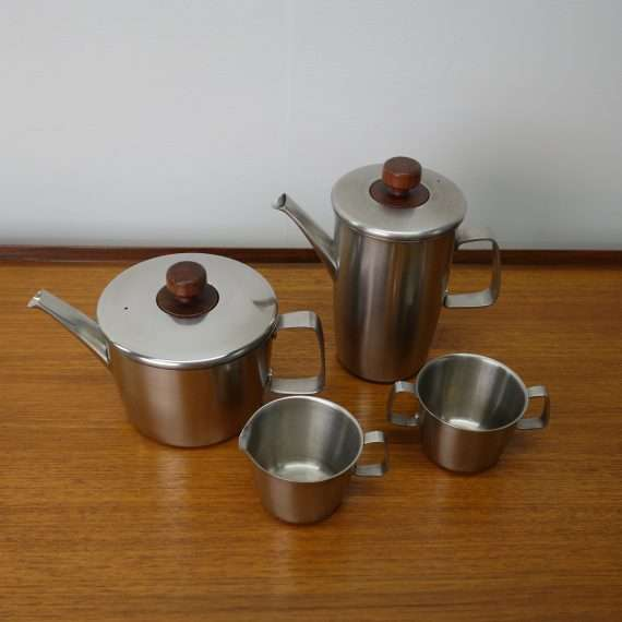 1960s stainless steel tea set by Gerald Benney