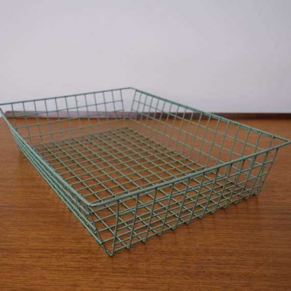 1960s green wire office in-tray
