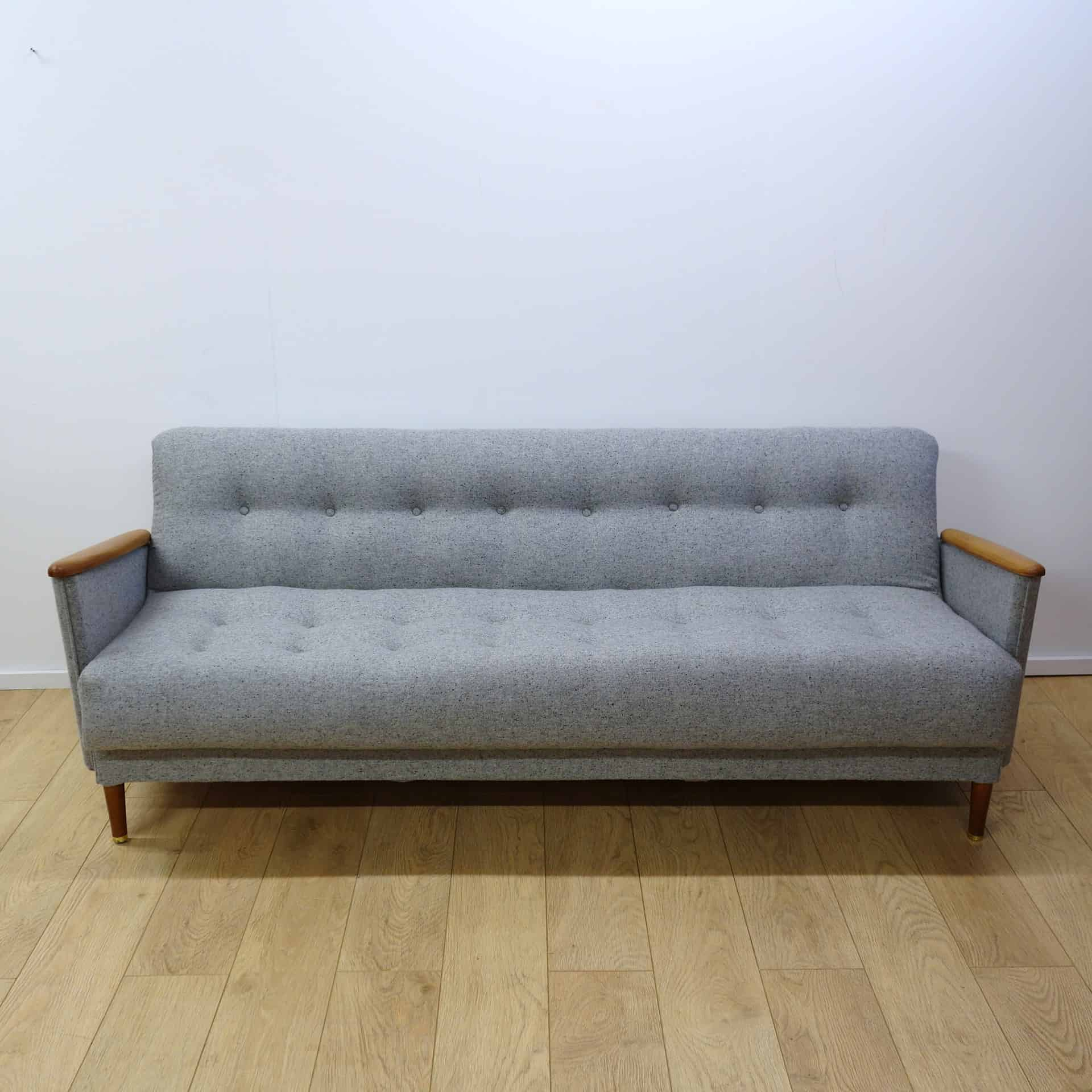 A Mid Century Light Grey Sofa Bed
