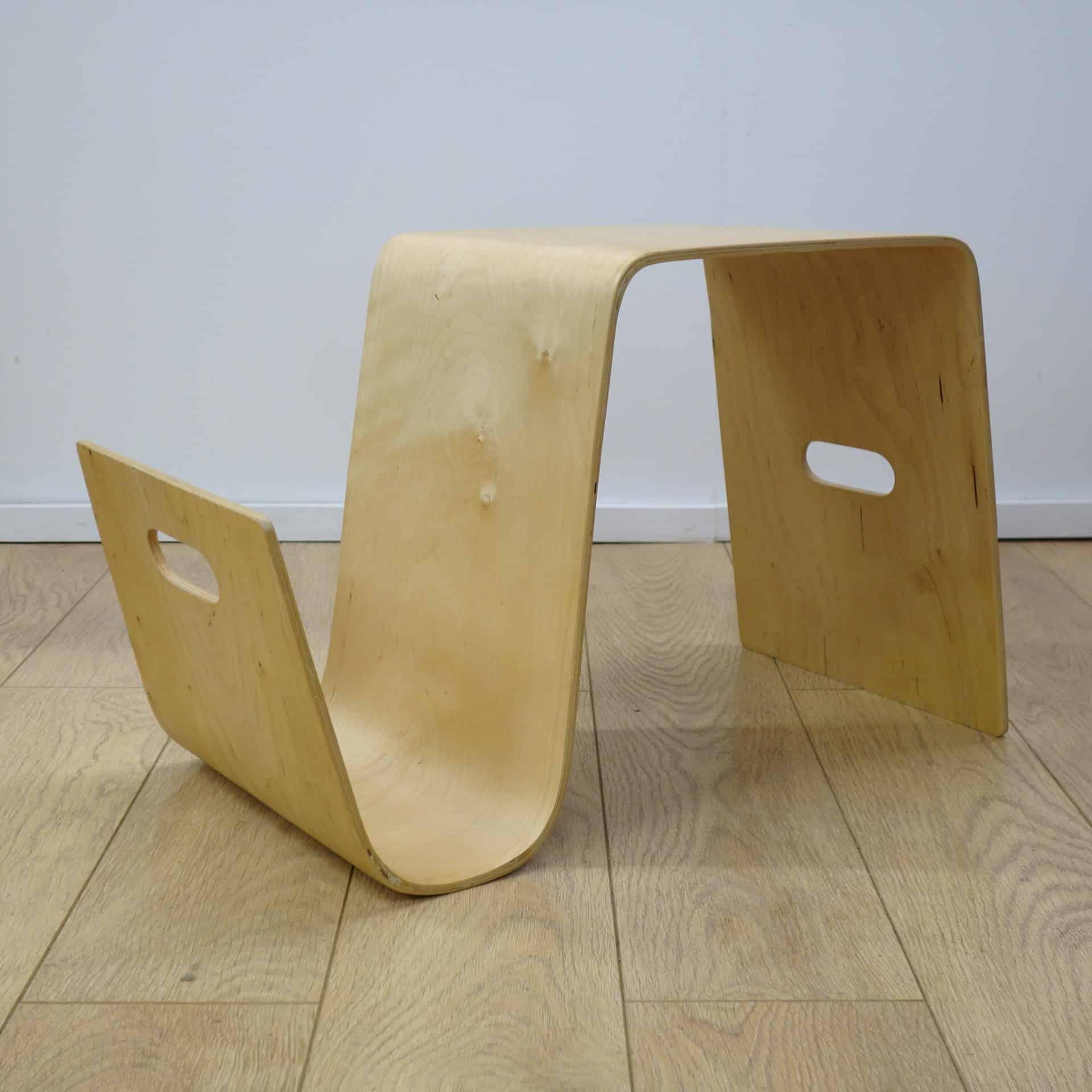 Contemporary Bent Plywood Table Magazine Rack Mark