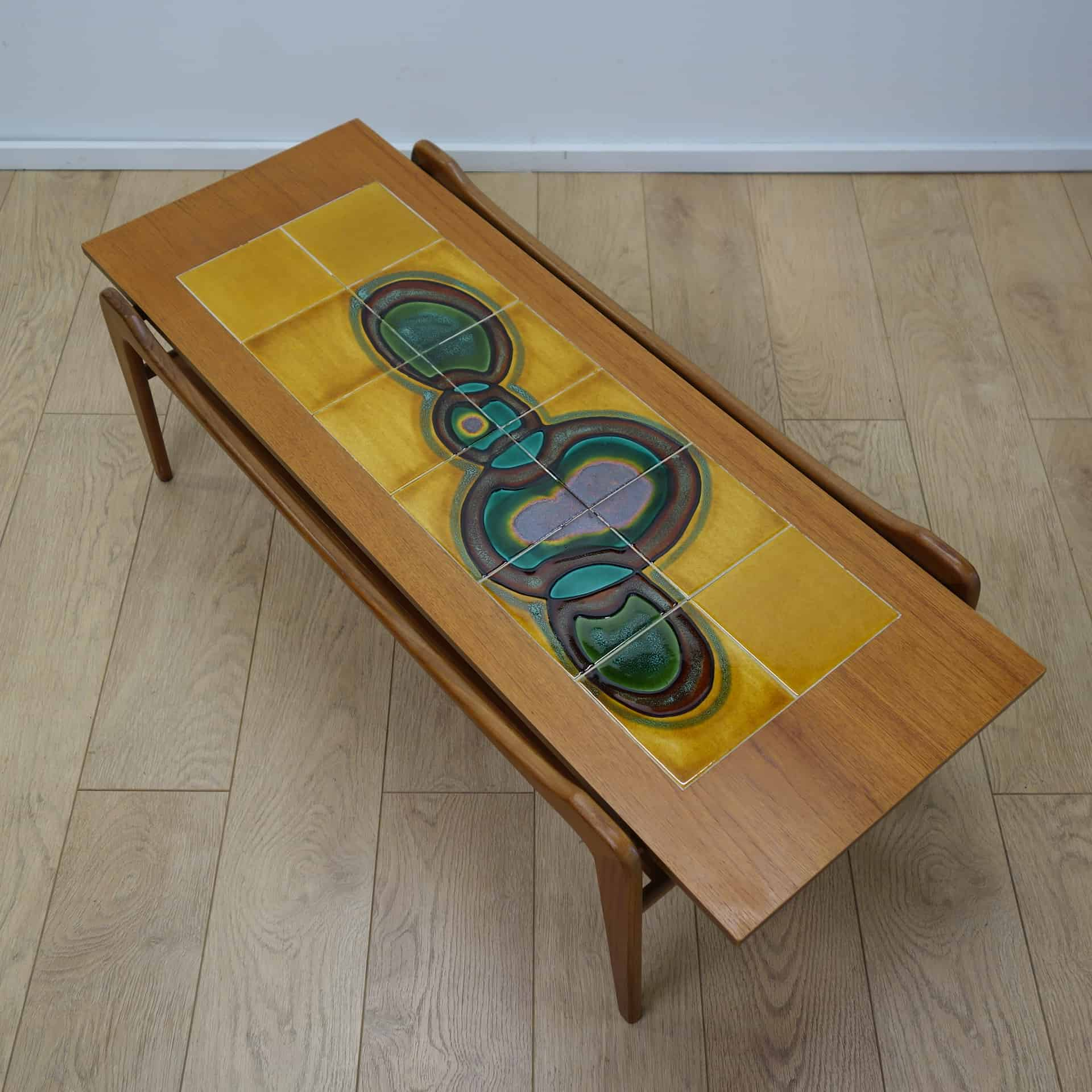1960s teak tiled top coffee table