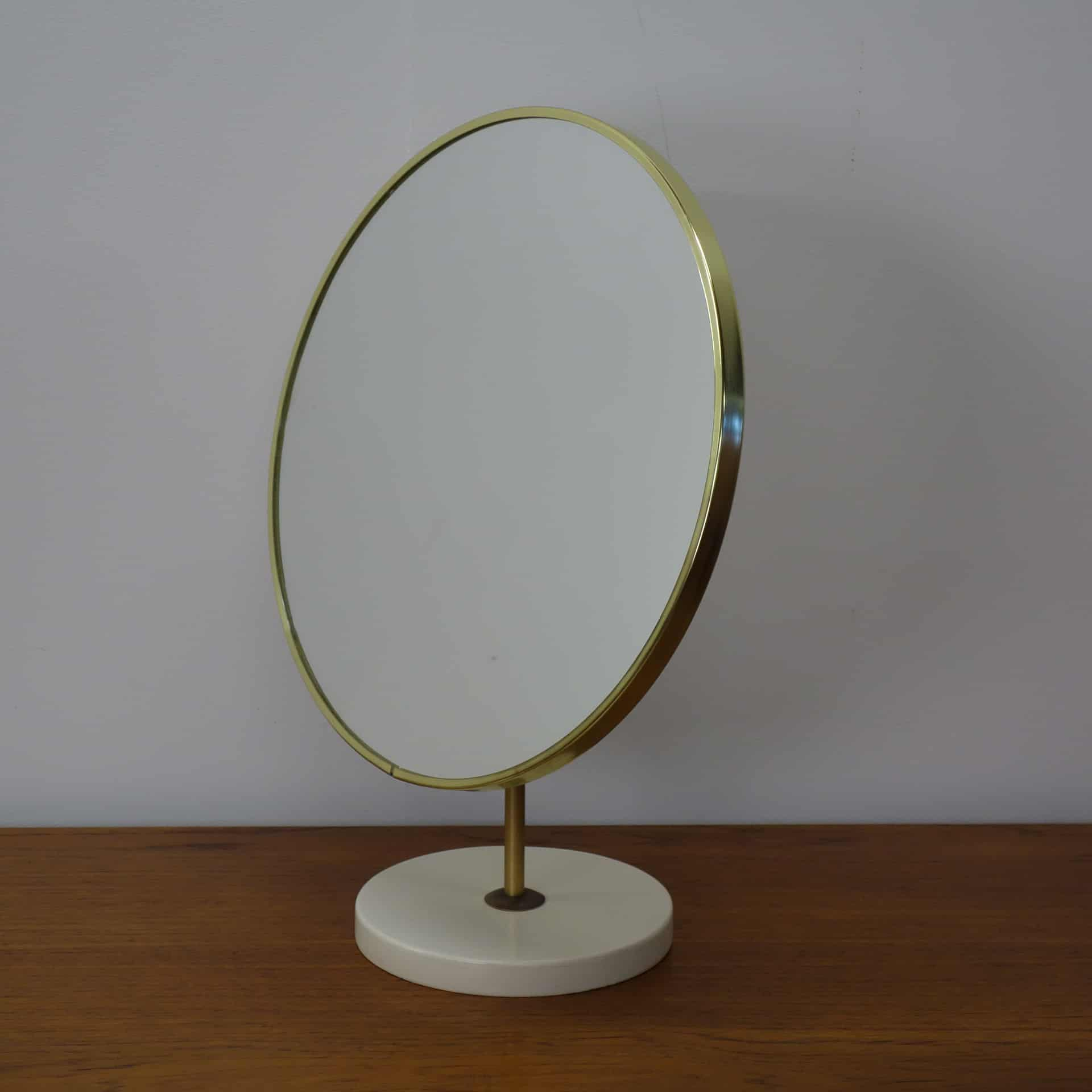 1970s White Table Top Mirror By Shreiber Mark Parrish