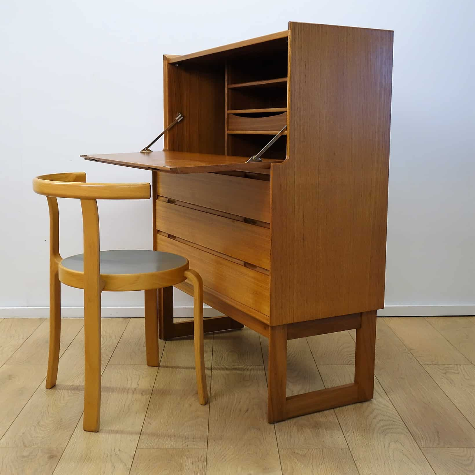 60s teak desk bureau by turnidge london mark parrish mid century modern. Black Bedroom Furniture Sets. Home Design Ideas