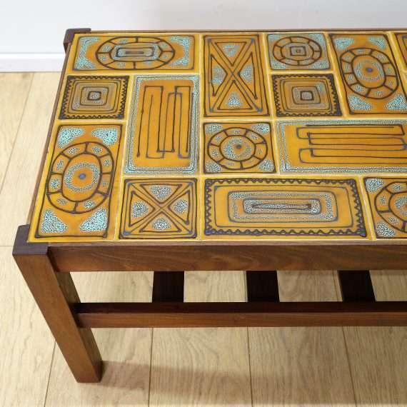 60s teak tiled coffee table with undershelf