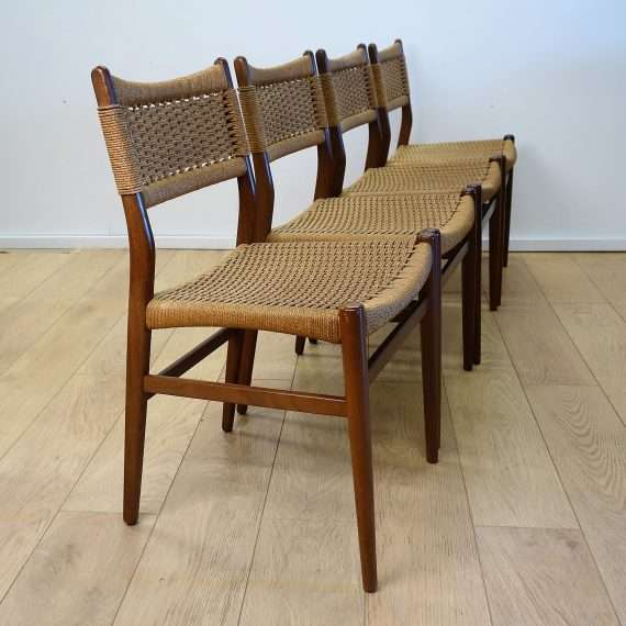 Danish teak dining chairs with cord seats