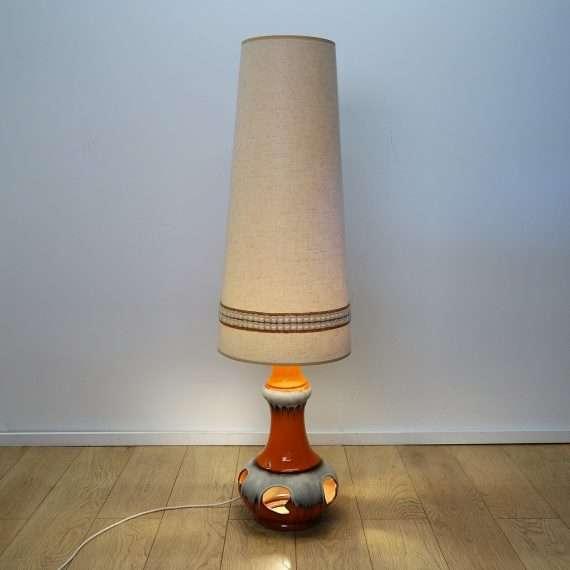 1970s West German orange ceramic floor lamp