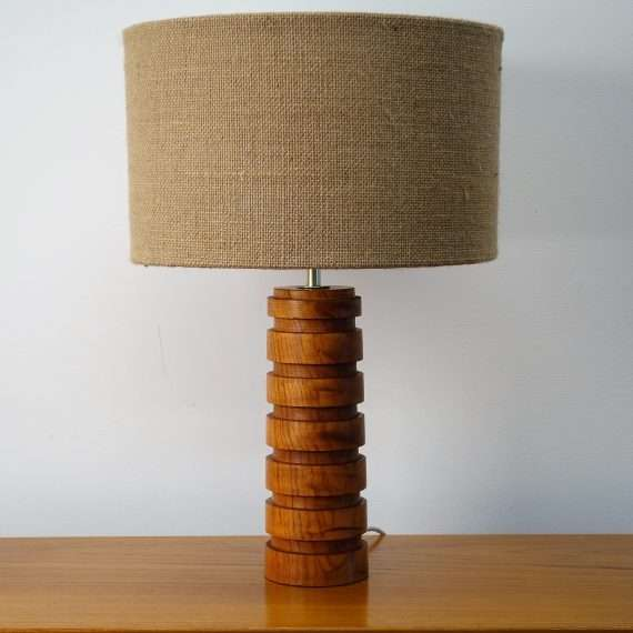 1960s turned cylindrical teak table lamp