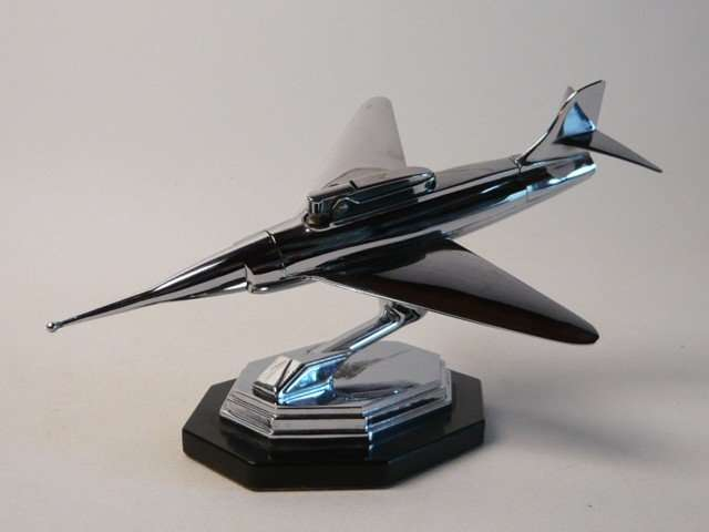 50s chrome Jet plane table lighter