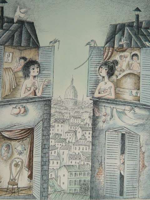Two Houses by Raymond Peynet