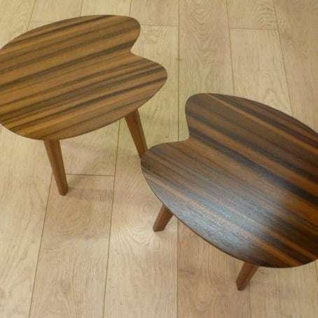 walnut kidney shape tables