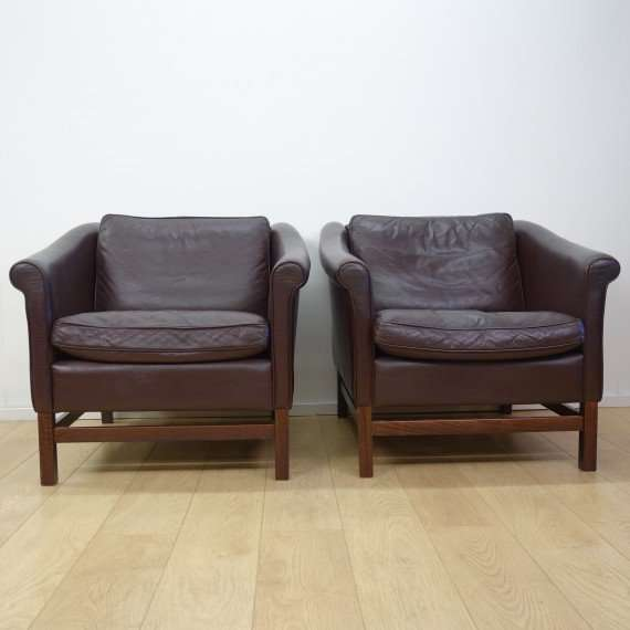 Danish leather armchairs by Stouby