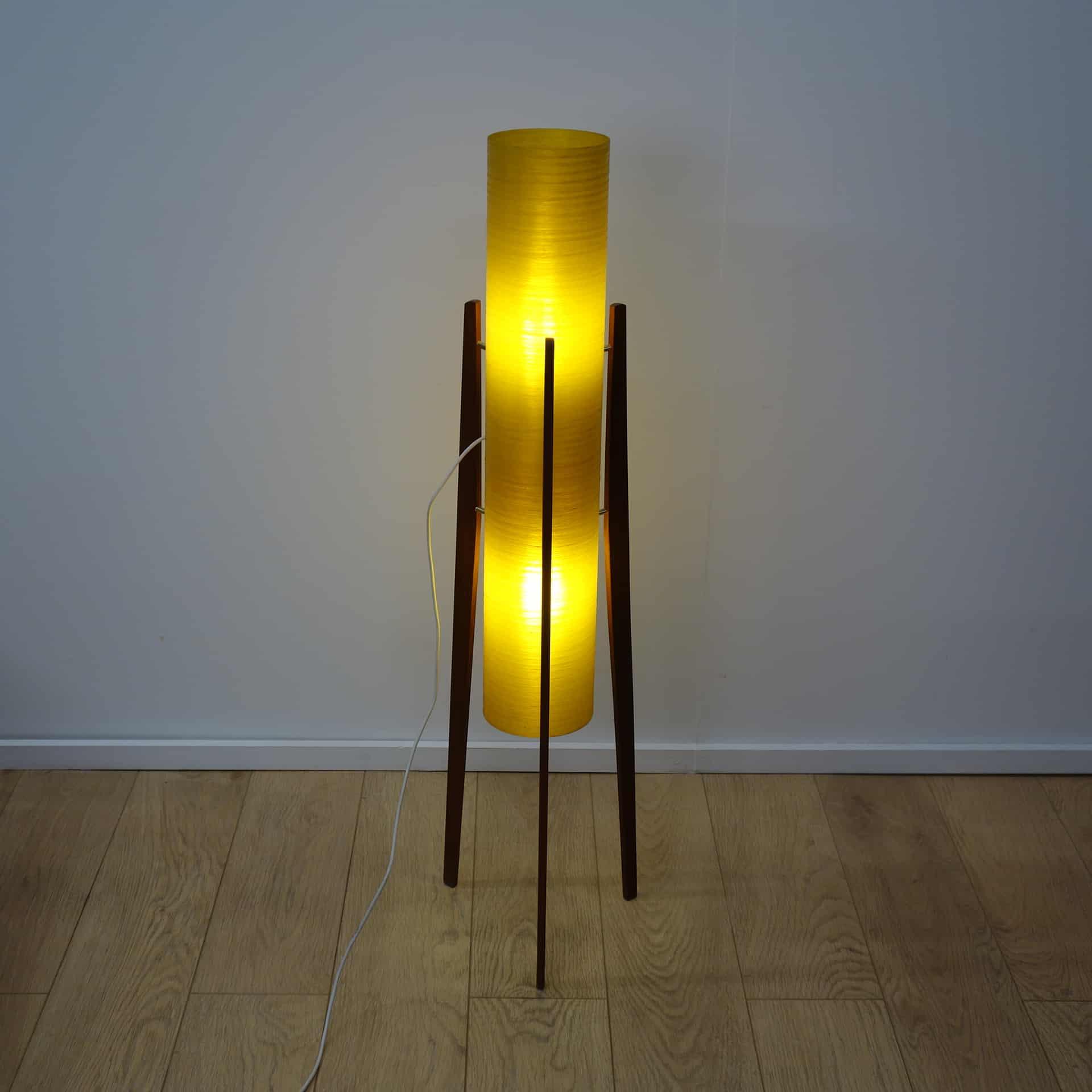 1960s teak rocket lamp