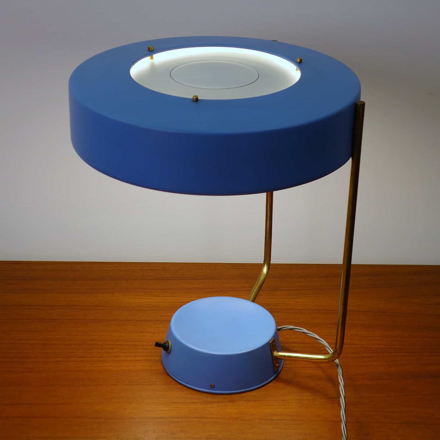 blue stilnovo lamp 1950s