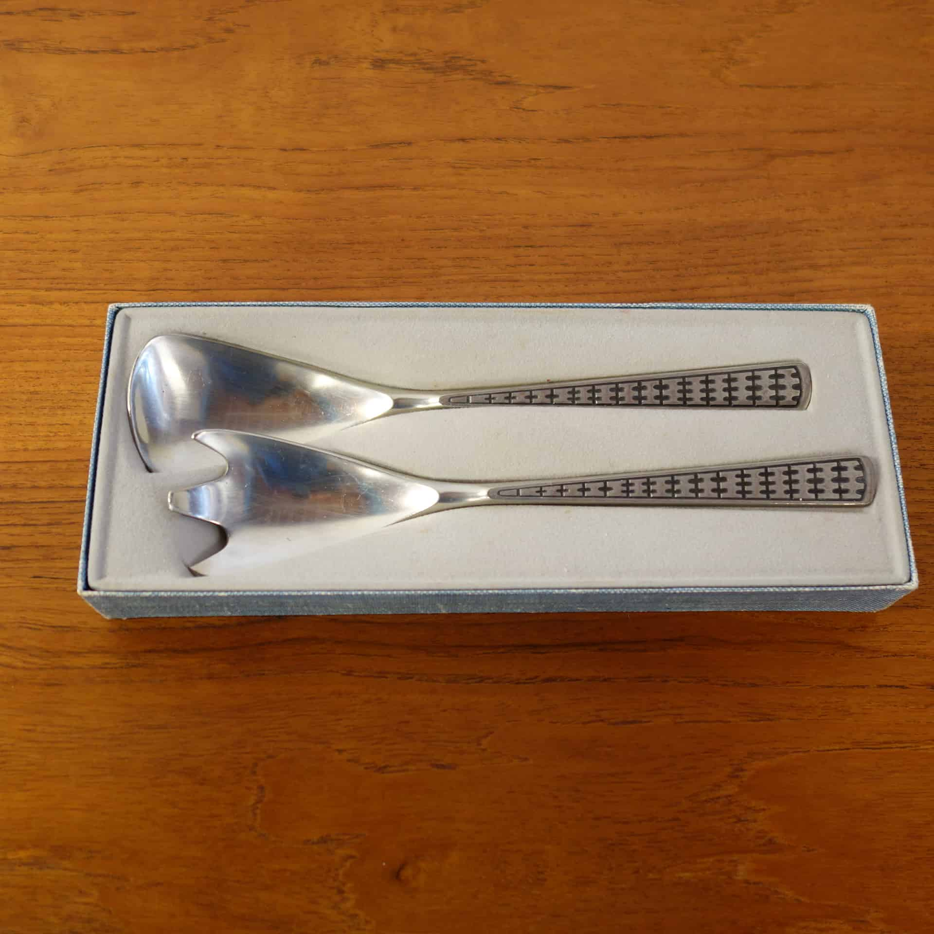 pair of Norwegian pewter salad servers
