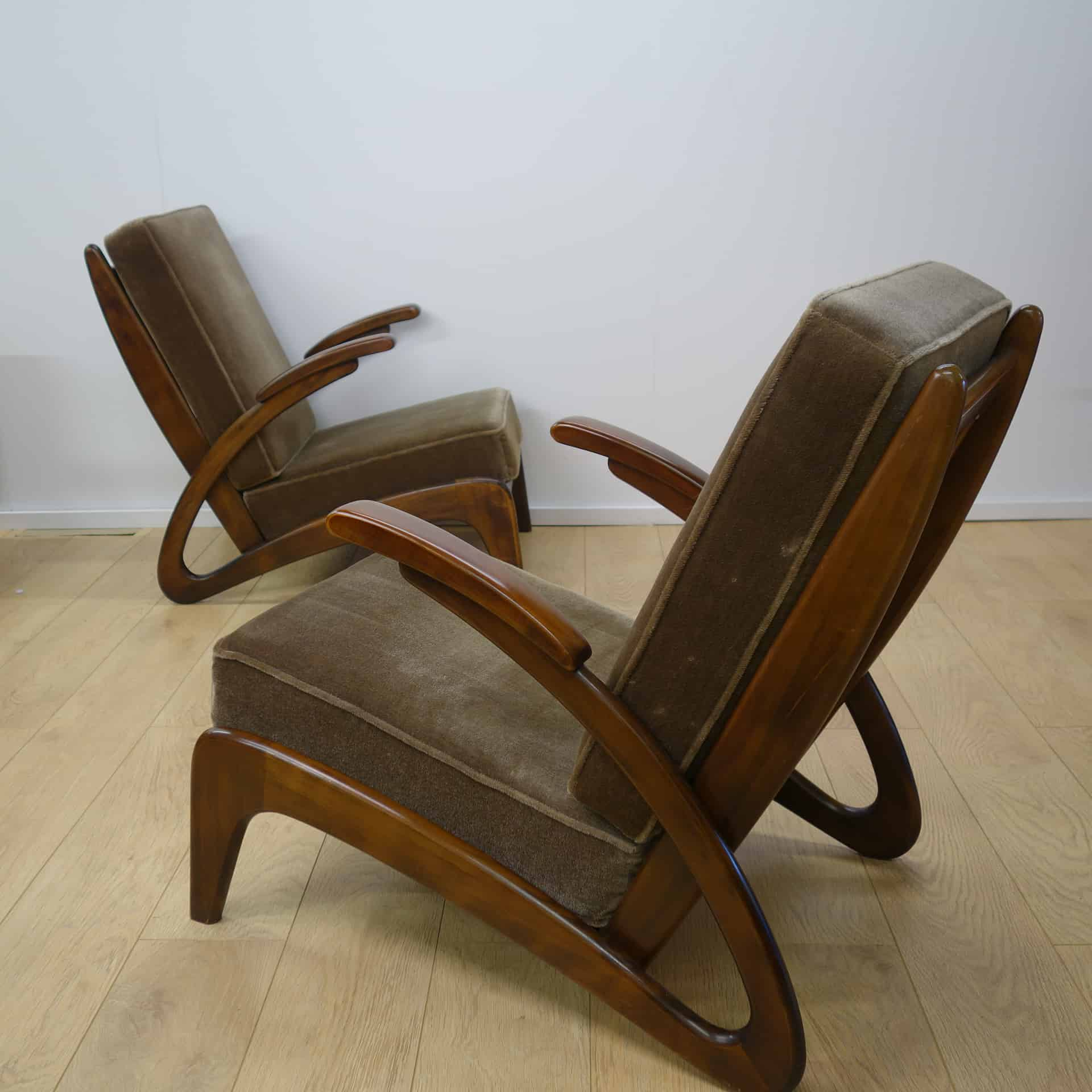 Pair of French 1950s armchairs