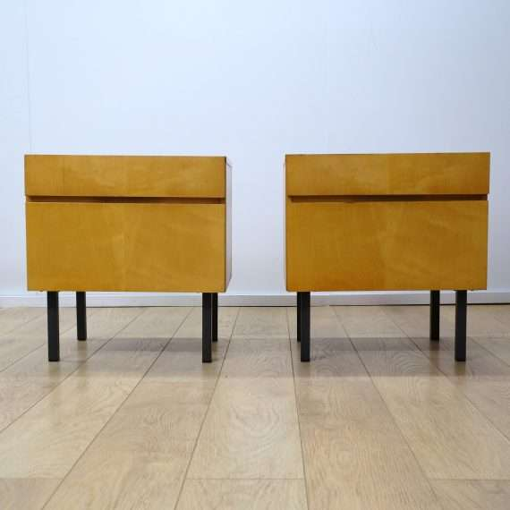 pair of 1960s maple bedside cabinets