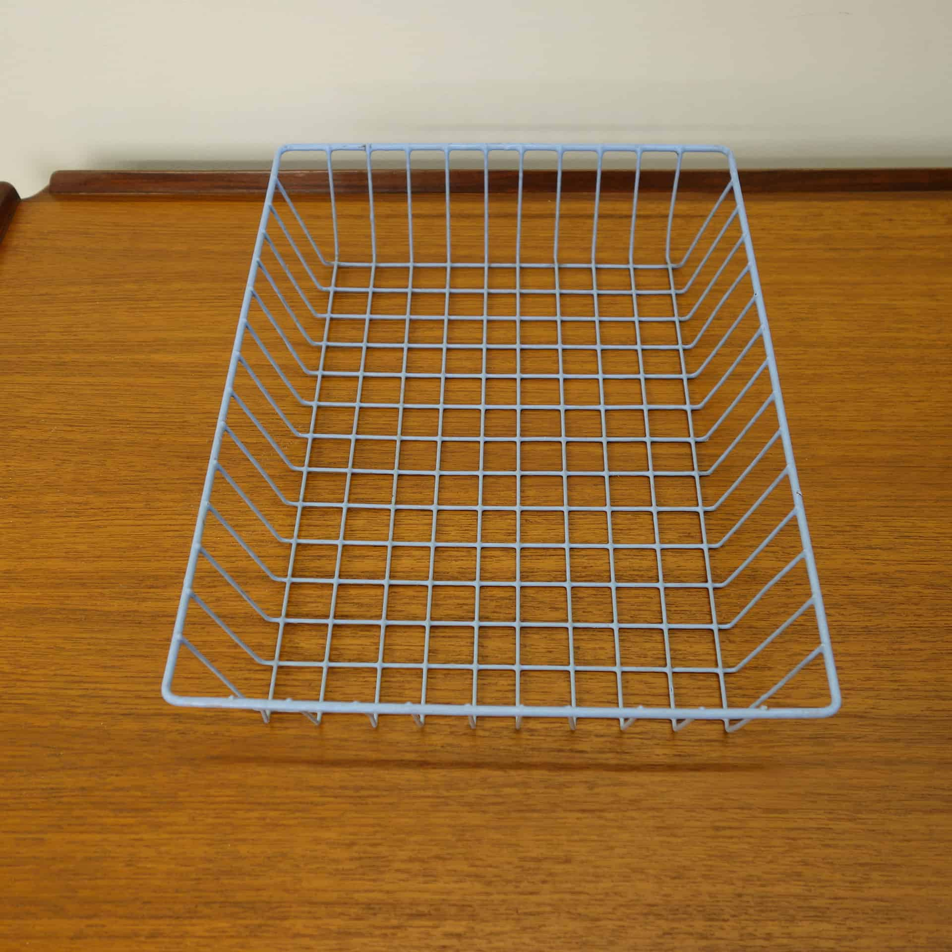 1960s blue wire office in-tray
