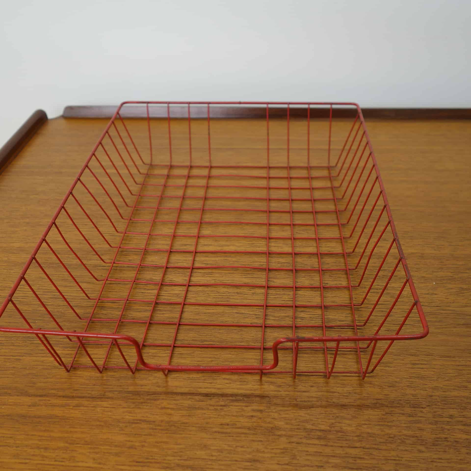 1960s red wire office in-tray