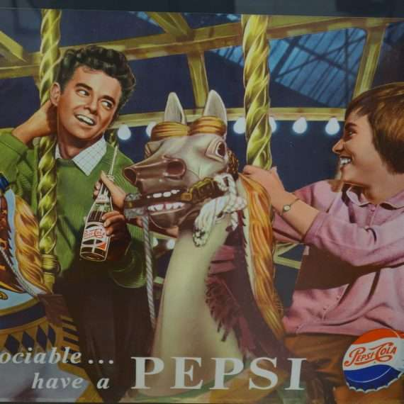 Original 50s Pepsi Cola advertising poster