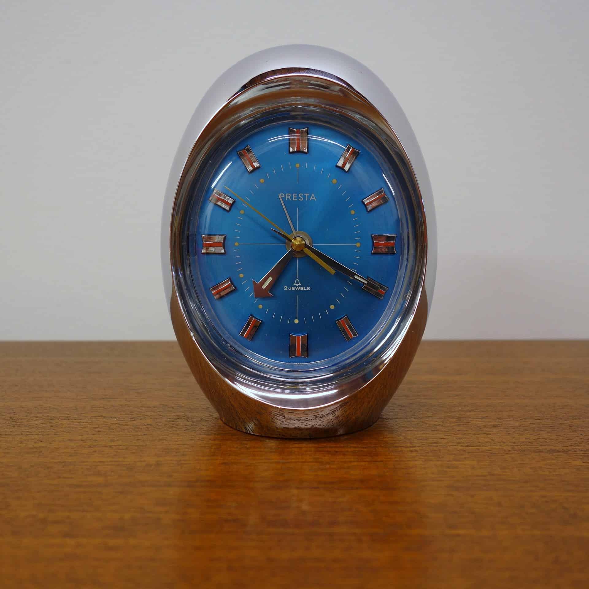 1970s chrome alarm clock made by Presta