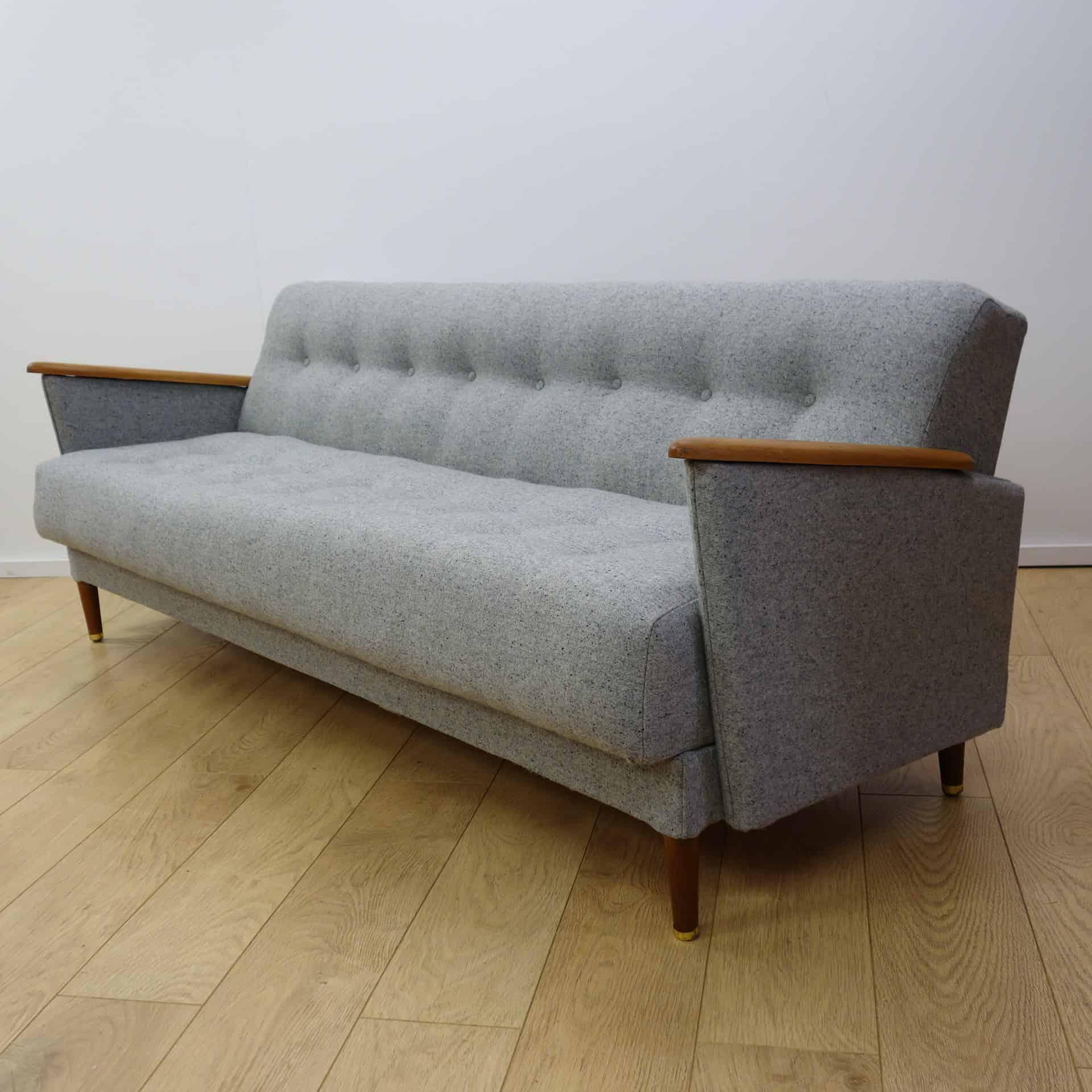 A Mid Century Light Grey Sofa Bed - Mark Parrish Mid Century Modern