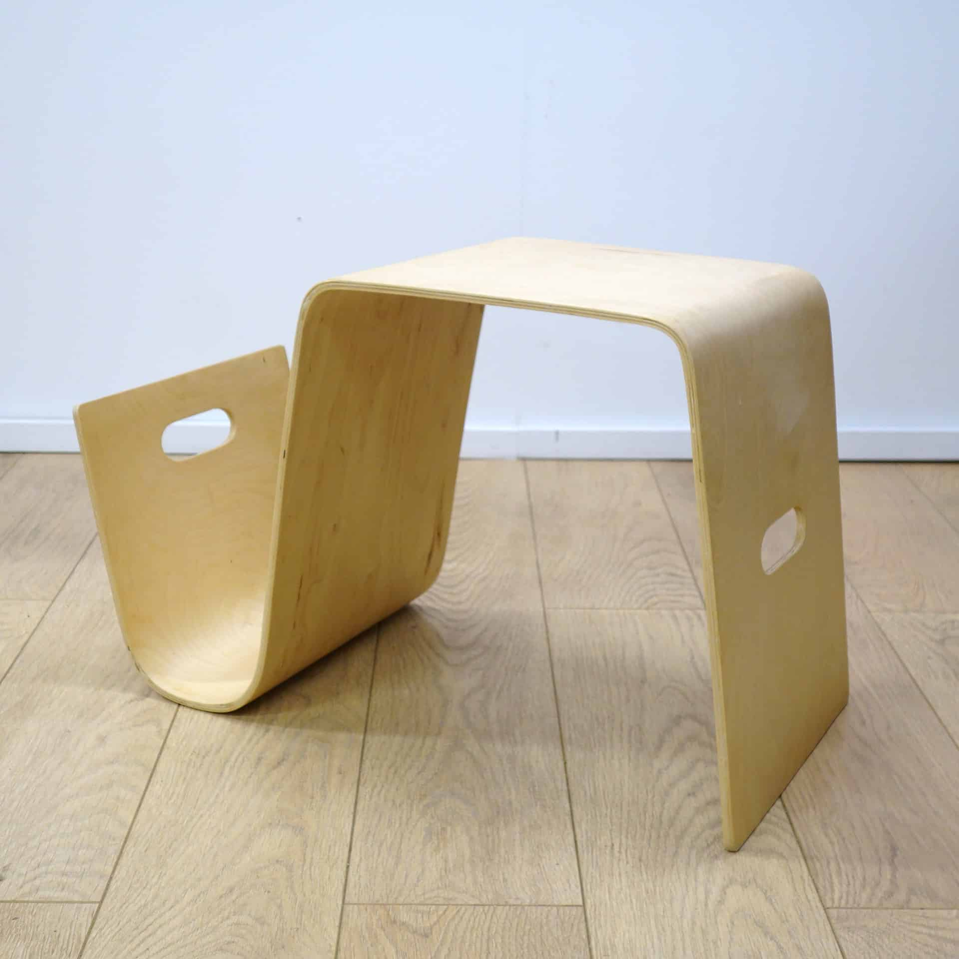 Contemporary bent plywood table/ magazine rack