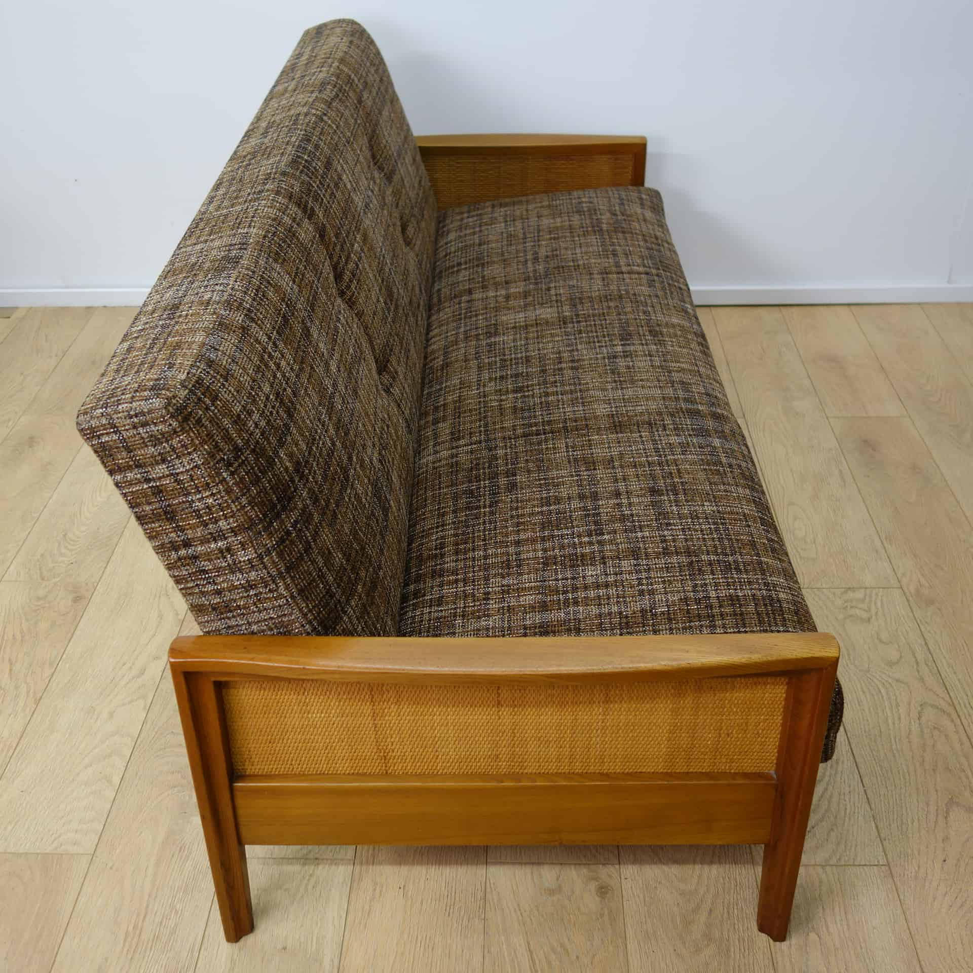1960s sofa bed with rattan sides