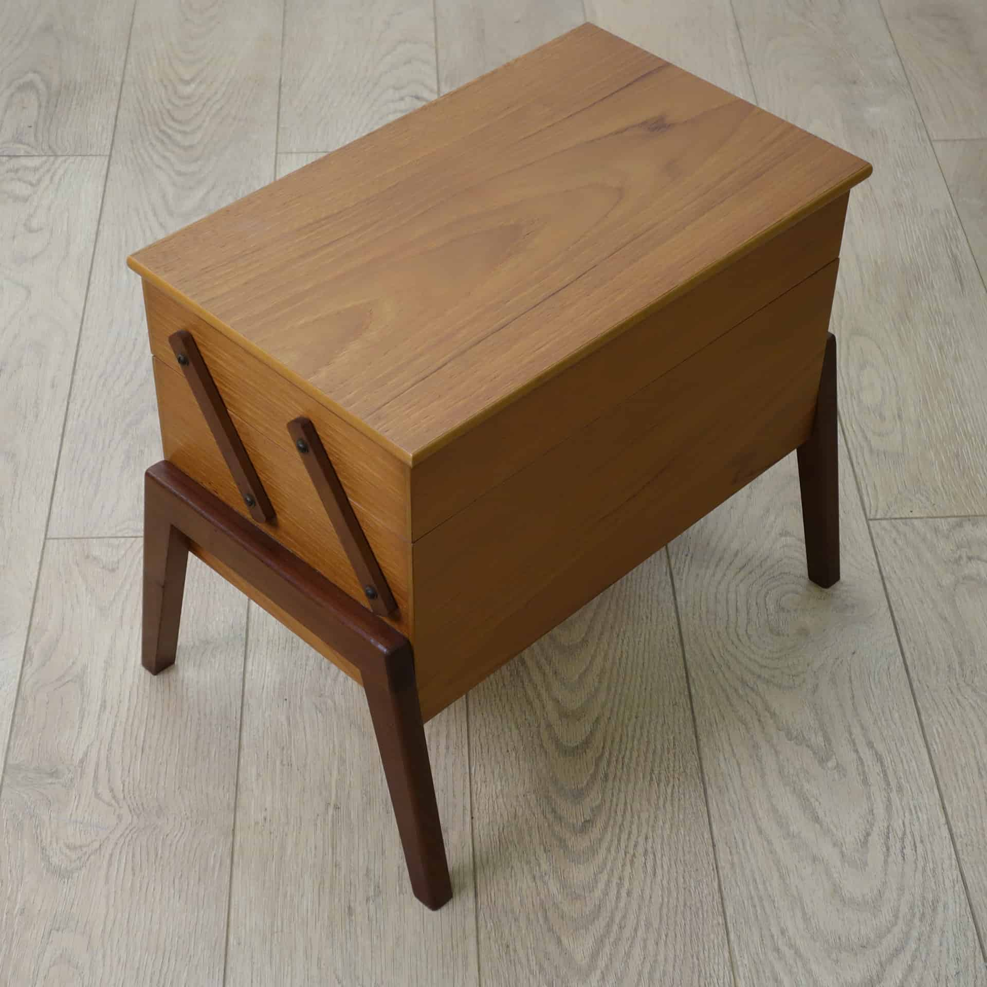 1960s teak sewing box