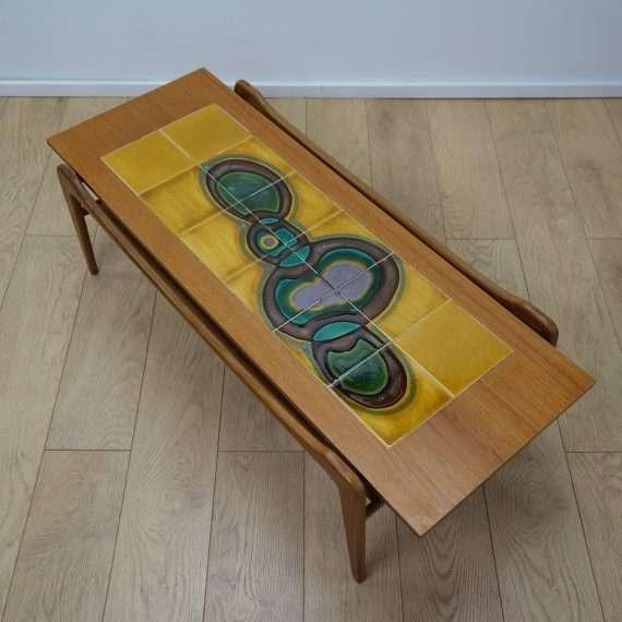 1960s teak tiled top coffee table