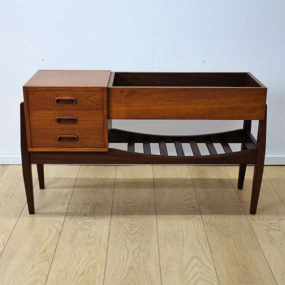 1960s teak hall planter with drawers