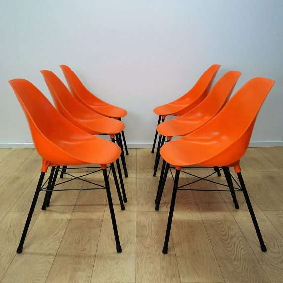 Set of 6 orange chairs by Sam Avedon 1962