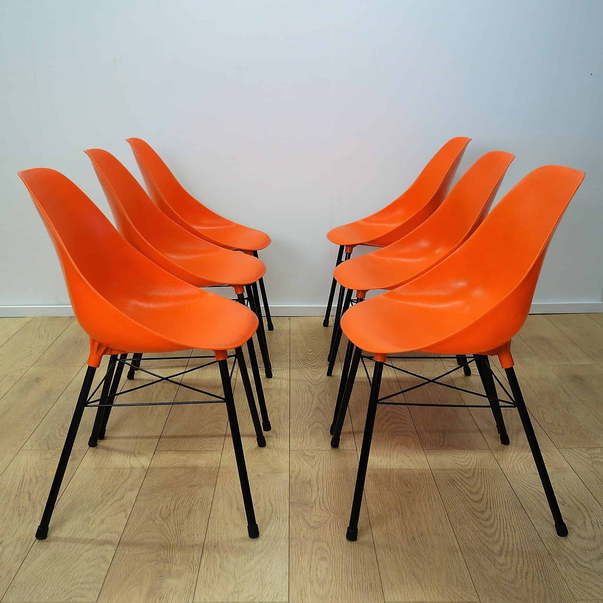 Set of 6 orange chairs by Sam Avedon 1962