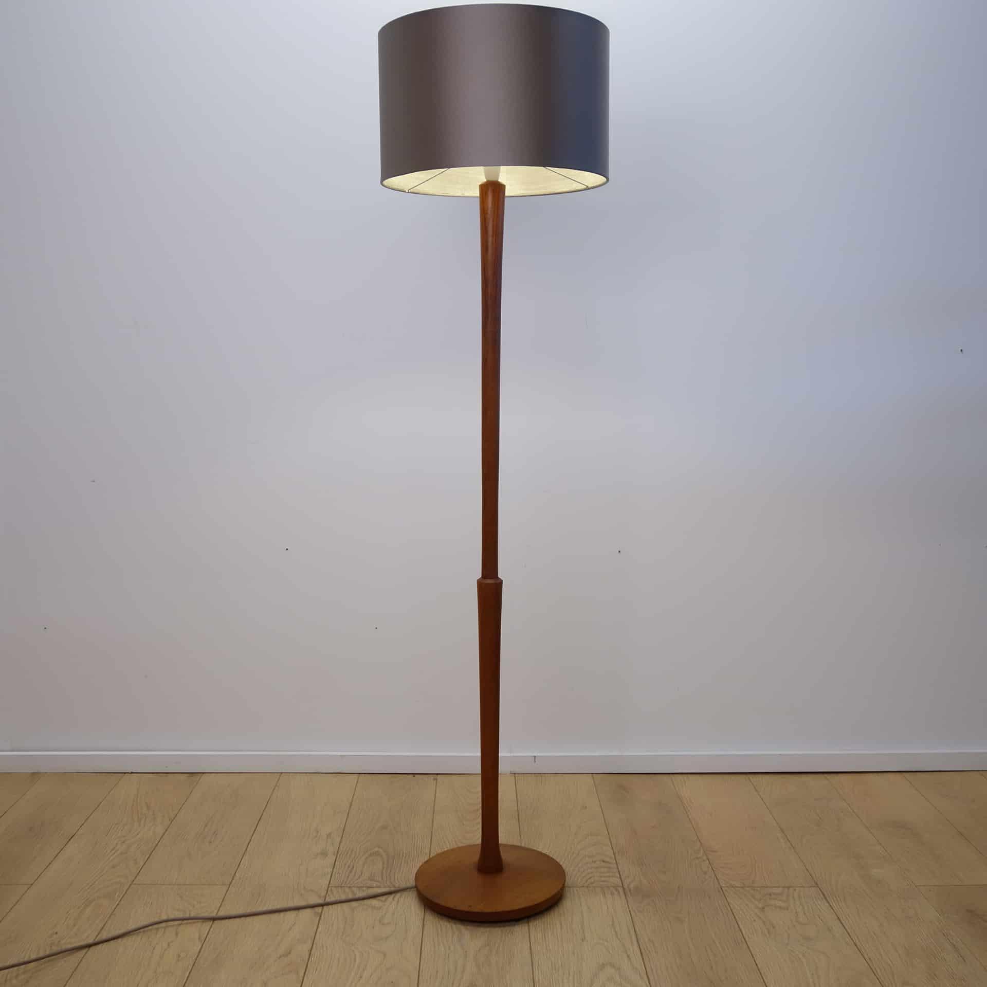 1960s teak standard lamp with grey shade