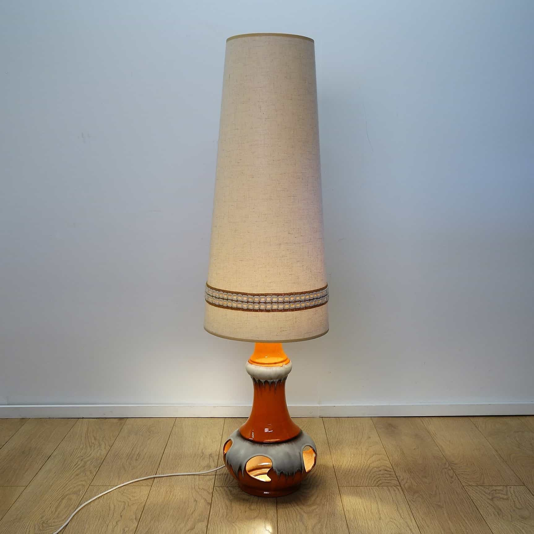 1970s West German orange ceramic floor lamp