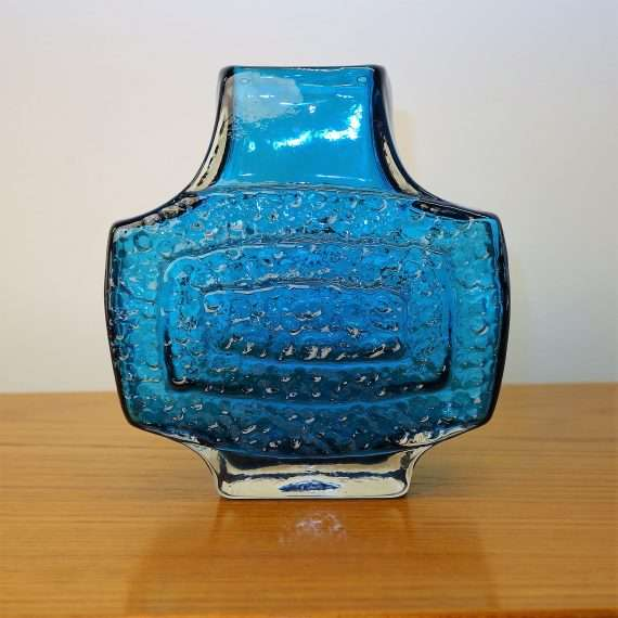 Whitefriars blue TV vase by Geoffrey Baxter
