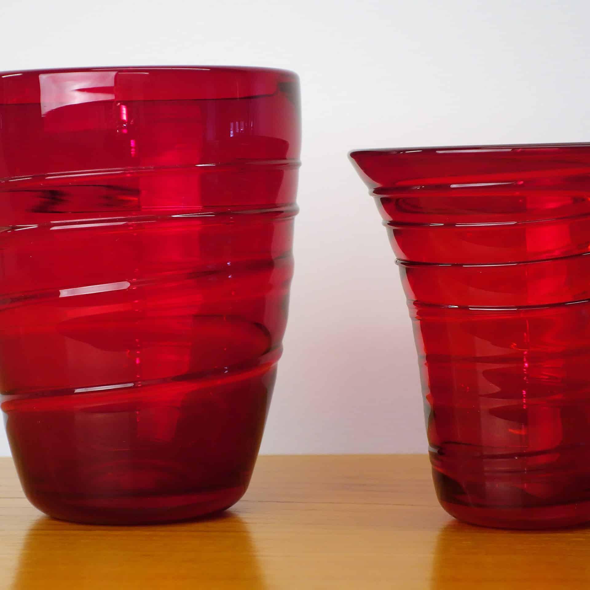 Whitefriars small ruby ribbon trail vase