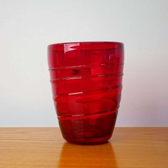 Whitefriars small ruby ribbon trail vase