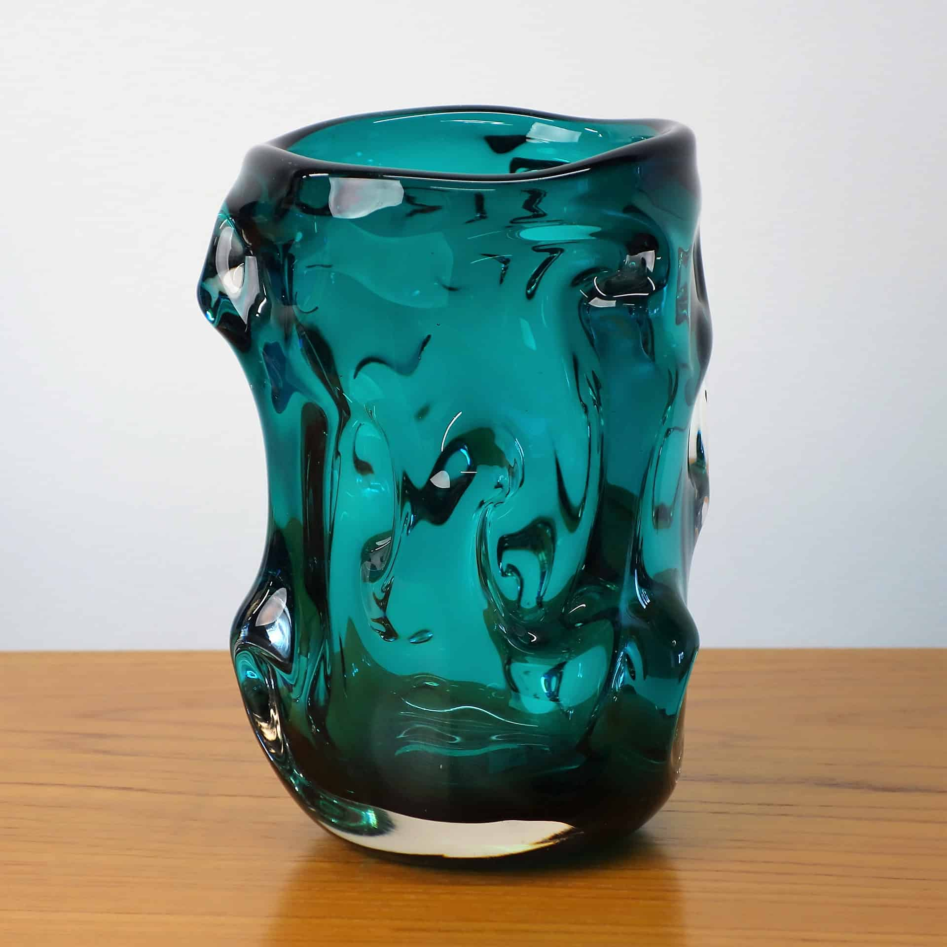 Whitefriars dark green knobbly vase
