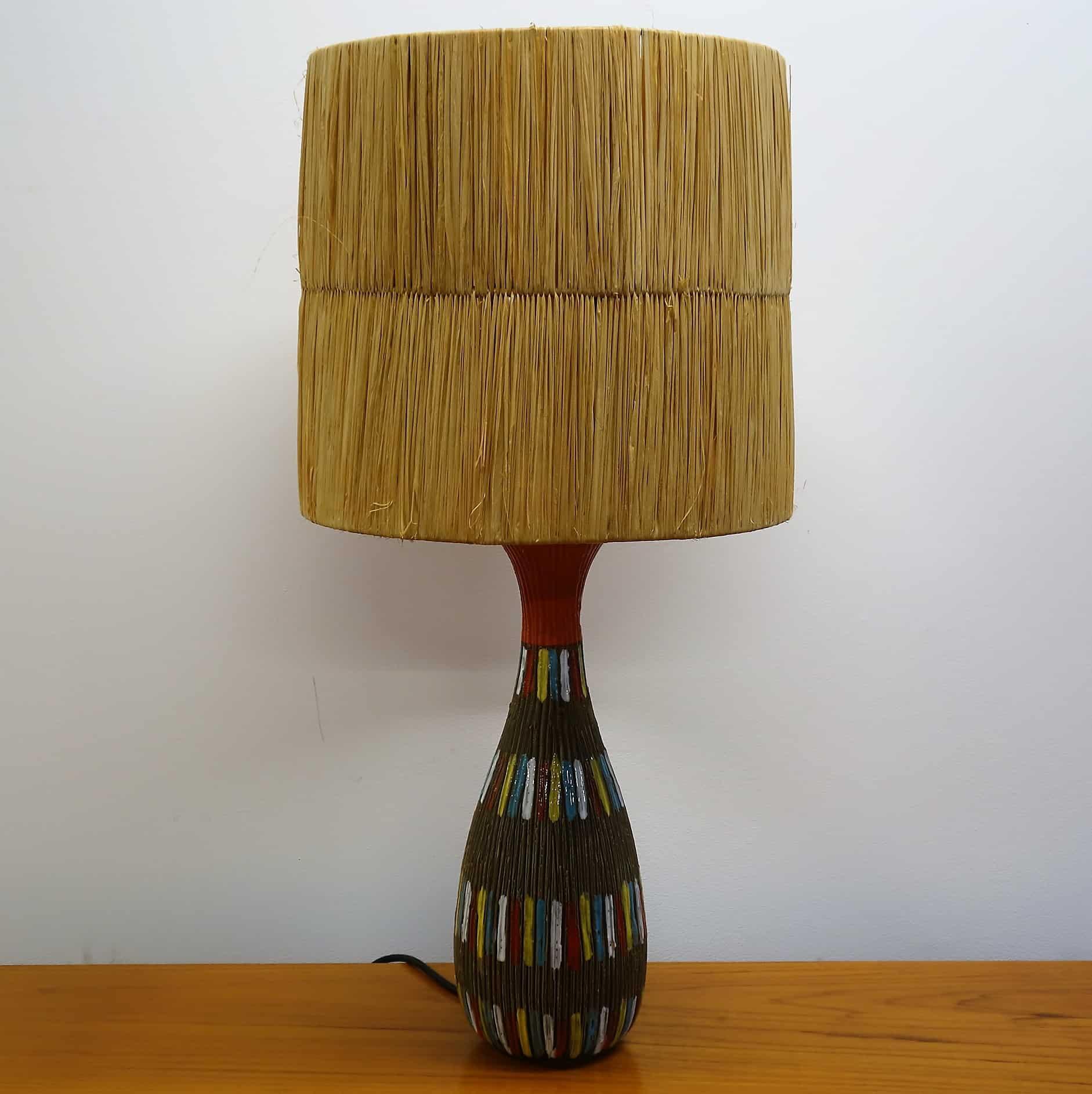 1950s Italian pottery table lamp