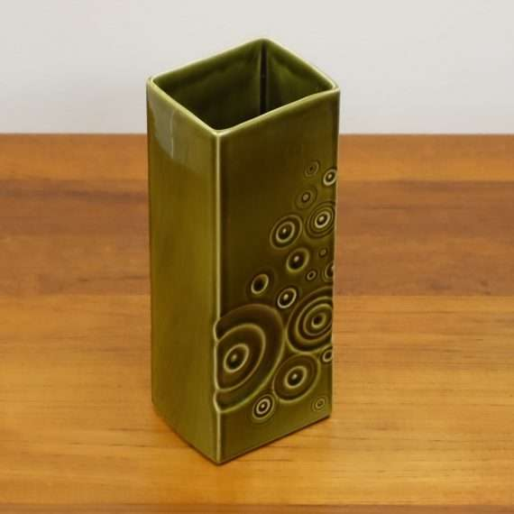 1960s Celtic pottery abstract green vase