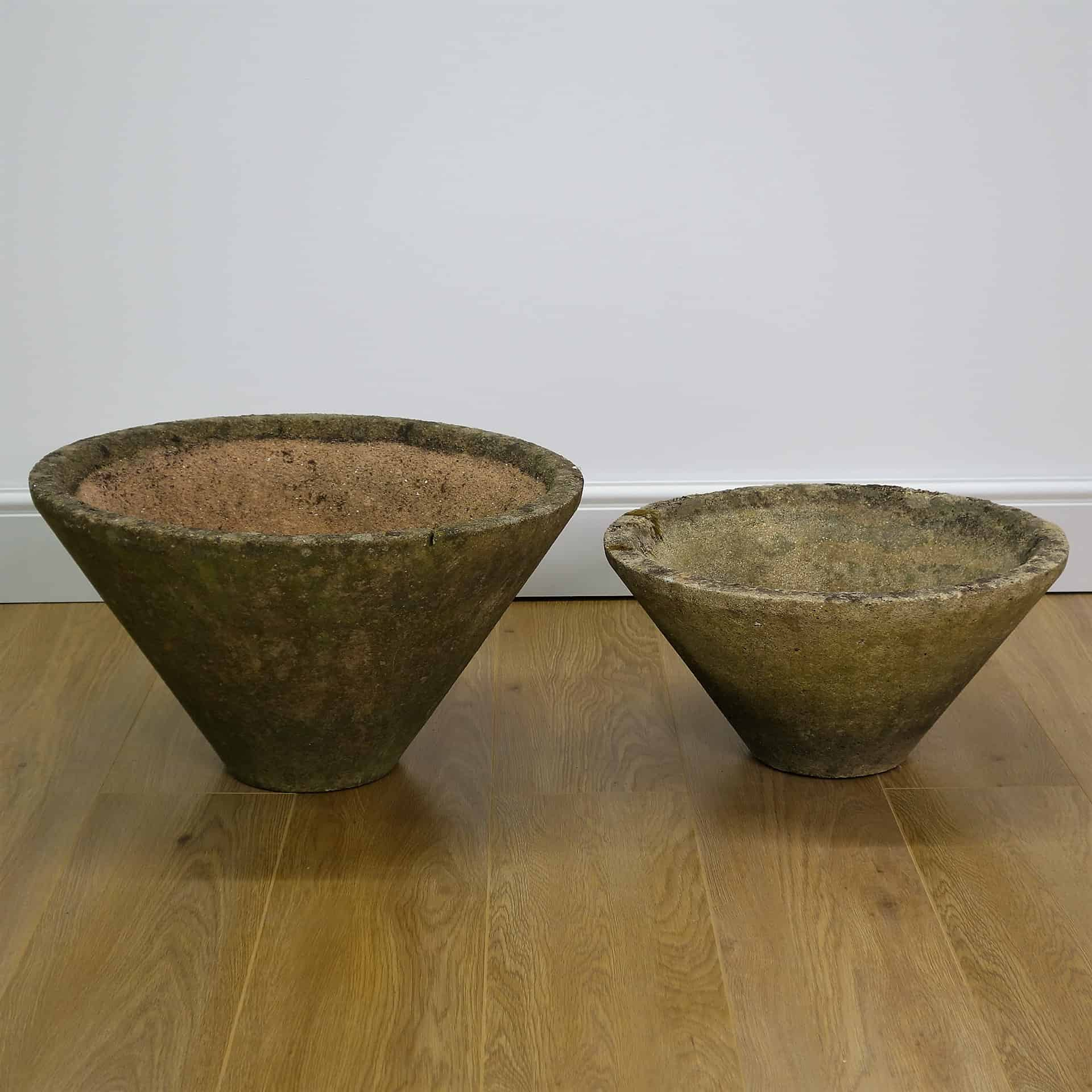 60s conical modernist concrete planters 23.5