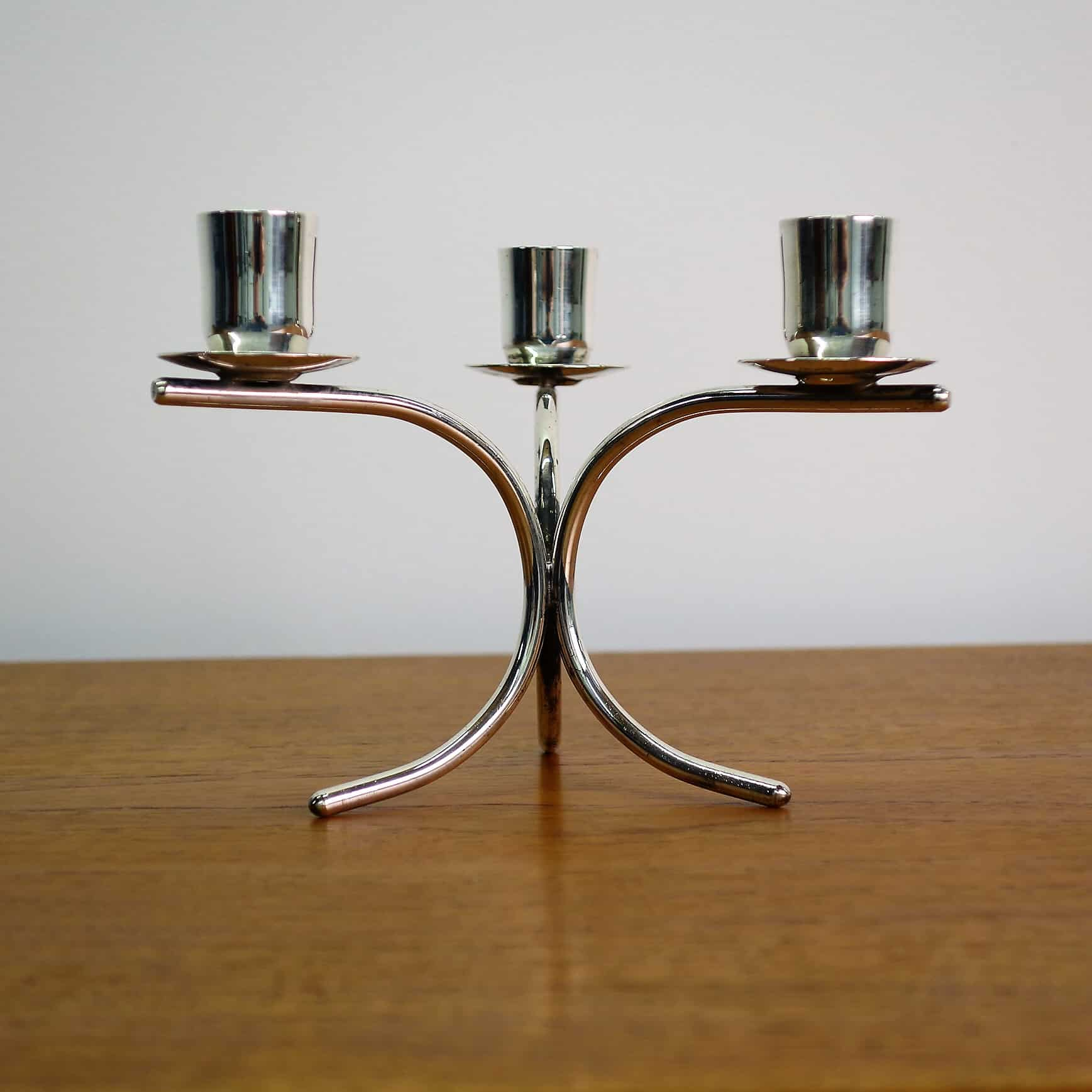 60s silver plate candlestick by G.de Martino