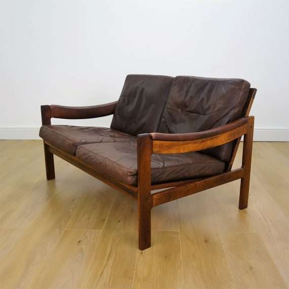 60s Danish rosewood and leather 2 seater sofa