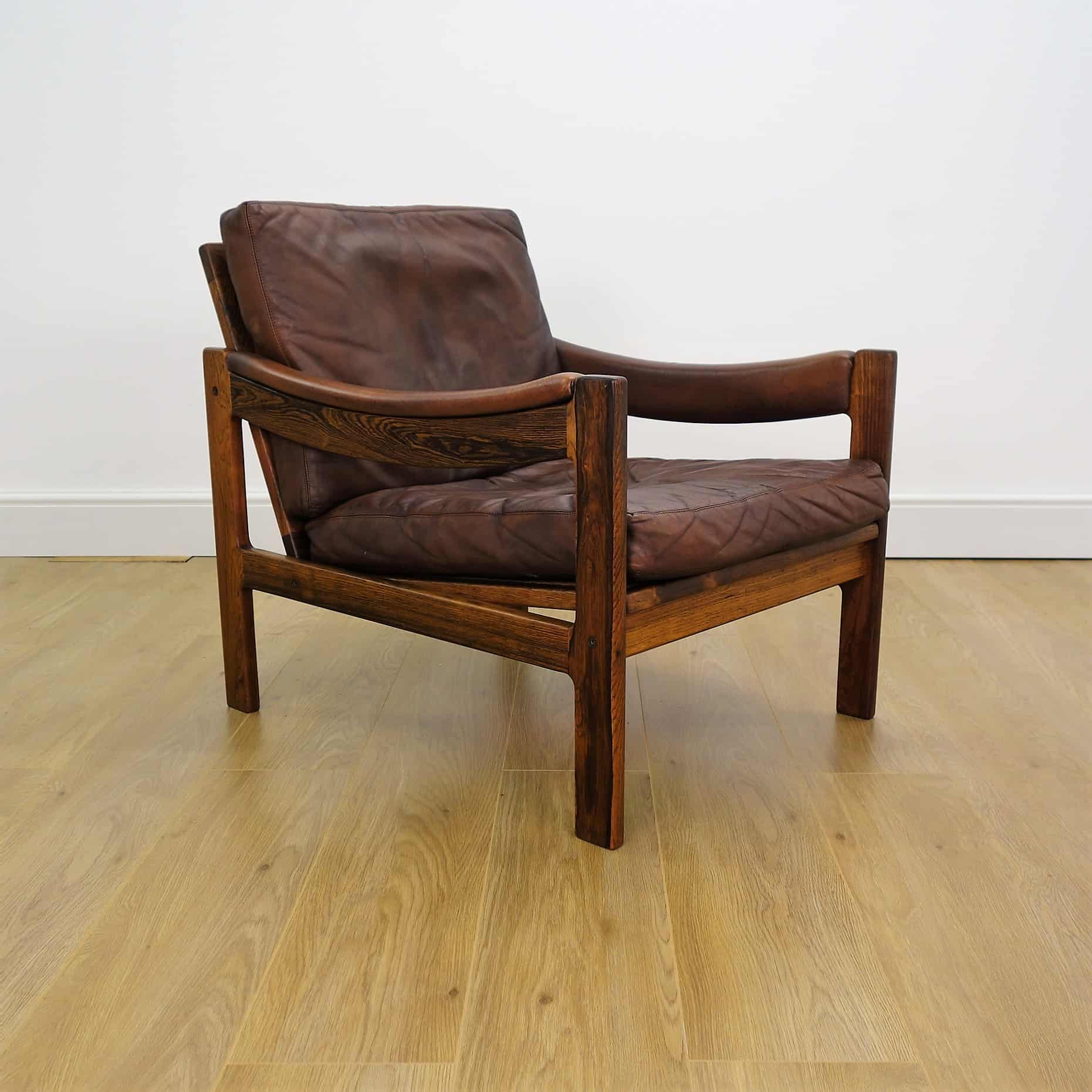 60s Danish rosewood and leather armchair