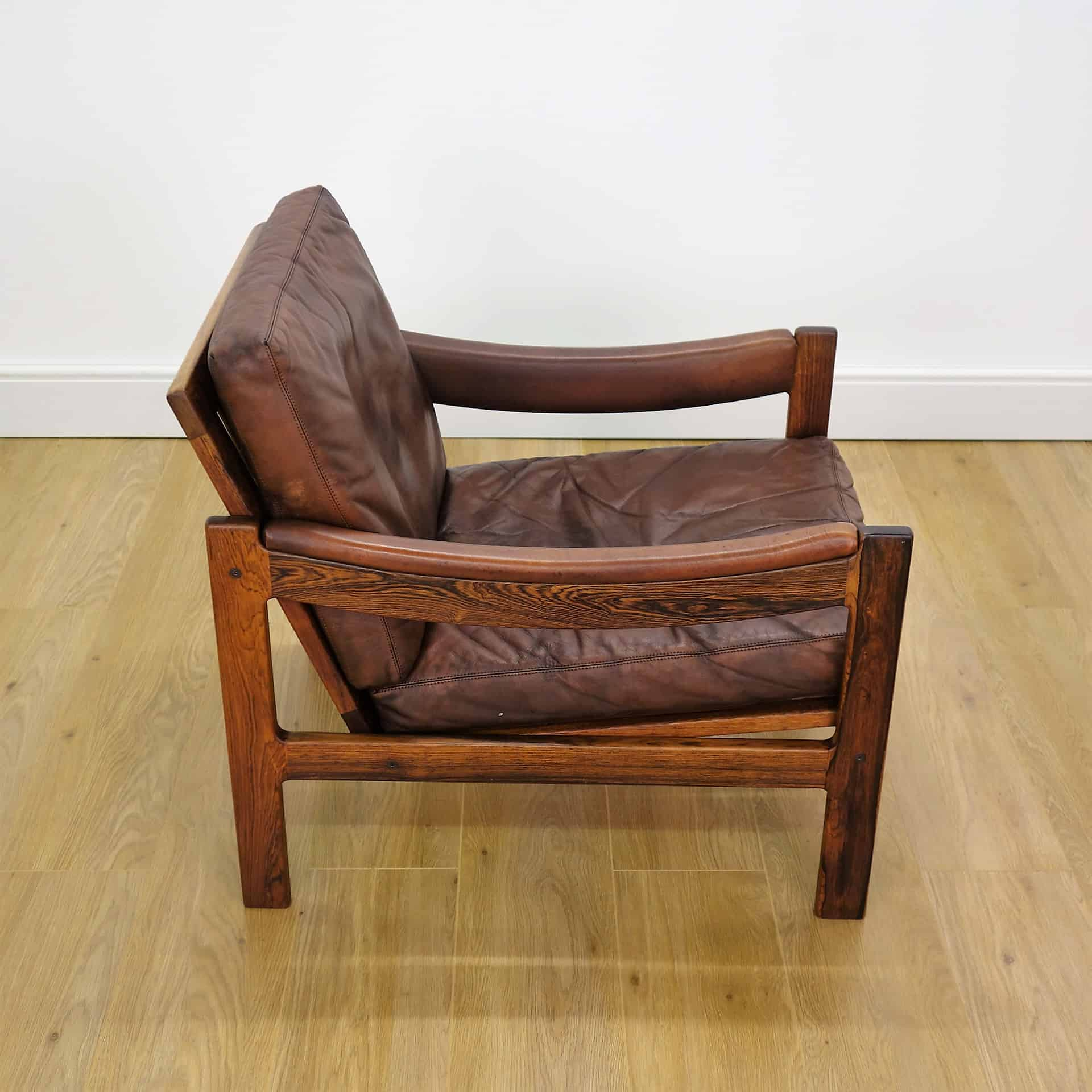 16 May 60S Danish Rosewood And Leather Armchair